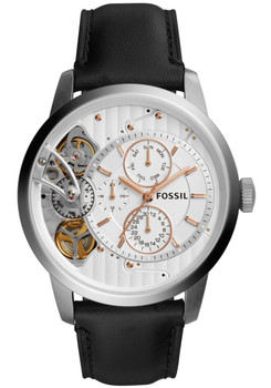Fossil ME1164 Townsman Twist Leather Black White (ME1164)