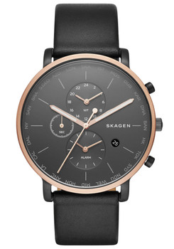 Skagen SKW6300 Hagen World Time Alarm Leather Black (SKW6300)