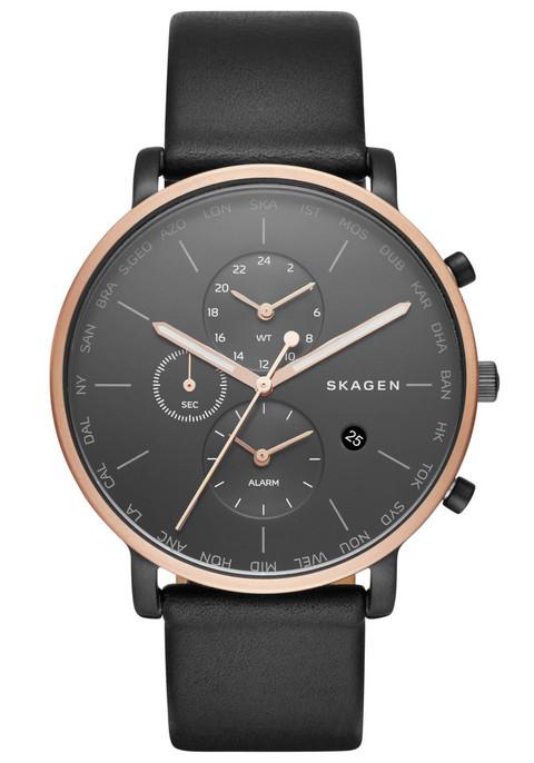 Skagen SKW6300 Hagen World Time Alarm Leather Black (SKW6300)