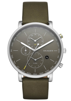 Skagen SKW6298 Hagen World Time Alarm Leather Olive (SKW6298)