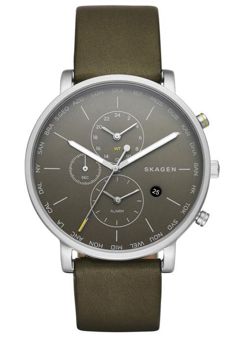Skagen SKW6298 Hagen World Time Alarm Leather Olive (SKW6298)