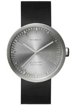 LEFF Amsterdam Tube Watch Leather D38 Steel Black (LT71001)