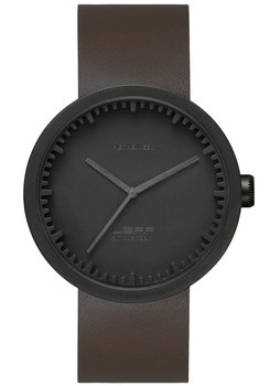 LEFF Amsterdam Tube Watch Leather D38 Black Brown (LT71012)
