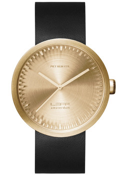 LEFF Amsterdam Tube Watch Leather D38 Brass Black (LT71021)