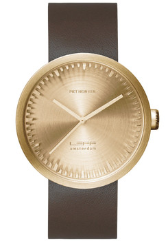 LEFF Amsterdam Tube Watch Leather D38 Brass Brown (LT71022)