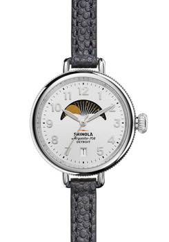Shinola Birdy Moonphase Navy Leather Silver (S0120008181)