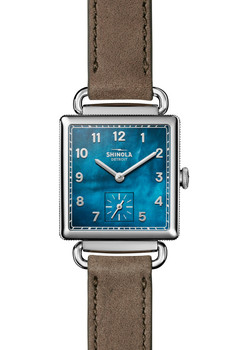 Shinola Cass 28mm Grey Leather Navy Mother of Pearl (S0120018131)