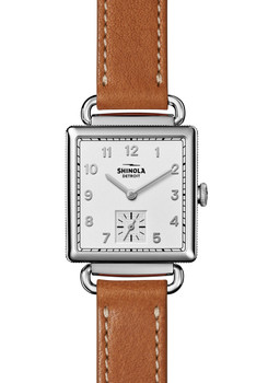 Shinola Cass 28mm Brown Leather Silver (S0120018132)