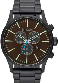 Nixon Sentry Chrono All Black/Brass/Brown (A3862209)