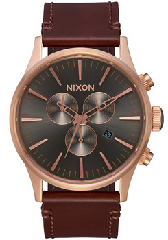 Nixon Sentry Chrono Leather Rose Gold Gunmetal Brown (A4052001)