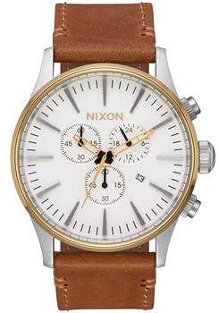 Nixon Sentry Chrono Leather Gold Cream Tan (A4052548) front