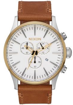Nixon Sentry Chrono Leather Gold Cream Tan (A4052548) front