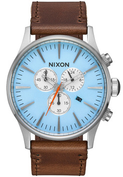 Nixon Sentry Chrono Leather Sky Blue Taupe (A4052547) front