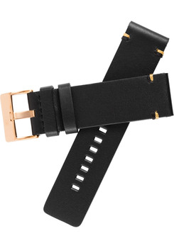 Xeric 24mm Smooth Black/Rose Gold Leather Strap (XRC-XS2-24-BKRG) xeriscope squared strap
