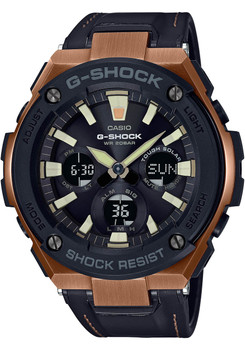 G-Shock G-Steel Tough Leather Black Rose Gold