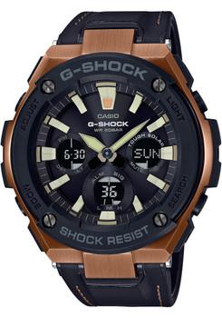 G-Shock G-Steel Tough Leather Black Rose Gold