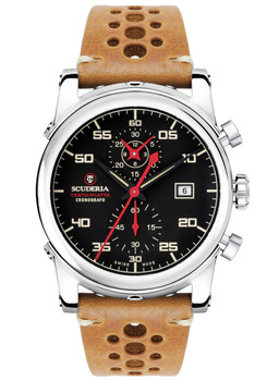 CT Scuderia Testa Piatta Chronogaph Leather Silver Tan (CS30100)