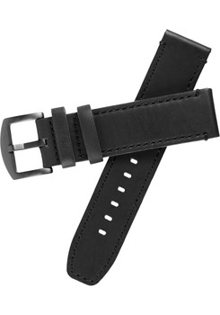 Xeric 22mm All Black Leather Strap with Stitching (XS3022-STRAP)