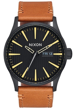 Nixon Sentry Leather Black Stamped Brown (A1052664)