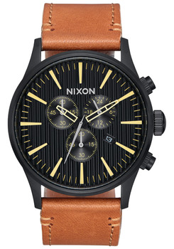 Nixon Sentry Chrono Leather Black Stamped Brown (A4052664)