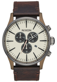 Nixon Sentry Chrono Leather Bronze Gunmetal (A4052091)