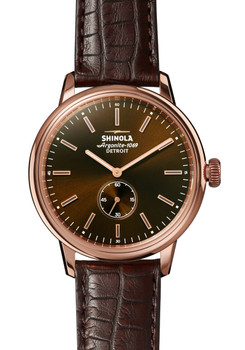 Shinola Bedrock 42mm Bourbon Oxblood Alligator (S0120058981)