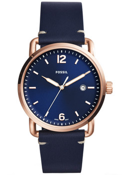 Fossil FS5274 Commuter Leather Blue Rose Gold (FS5274)
