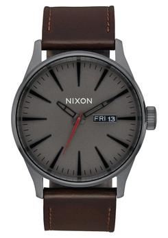 Nixon Sentry Leather Gunmetal Black Dark Brown (A1052737)