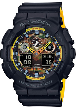 G-Shock GA100 Black Yellow Camo (GA100BY-1A)