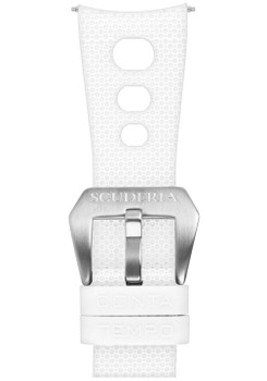 CT Scuderia 3 Hole White Silicone Strap (GS1380)