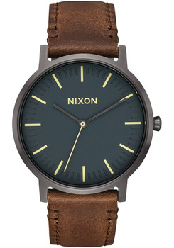Nixon Porter Leather Gunmetal Slate Blue Taupe (A10582757)