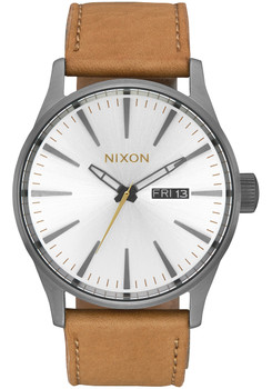Nixon Sentry Leather Gunmetal Silver Tan (A1052741)