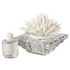 Crystal Base Decorative Perfume Bottle with Porcelain Coral,White Top
