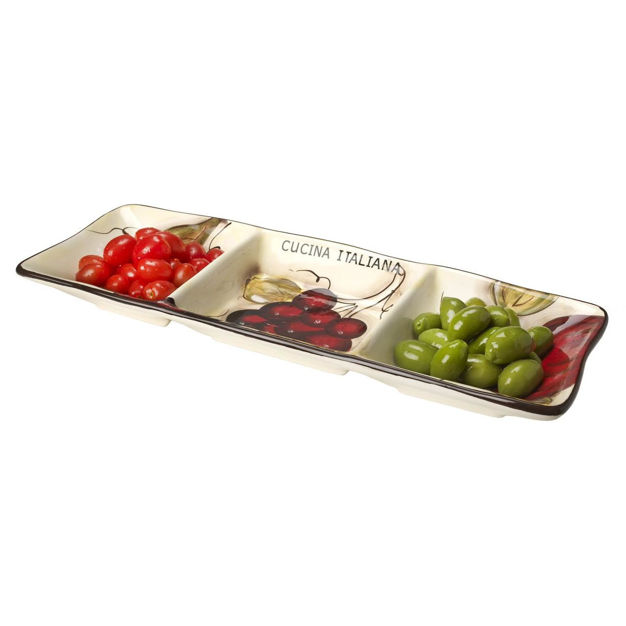 Ceramic Appetizer Side Dish 3 Sectional Fruit Decor  sc 1 st  5th Ave Store : sectional tray - Sectionals, Sofas & Couches