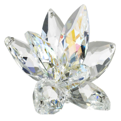 Italian Crystal Waterlily Lotus with Amber Highlights