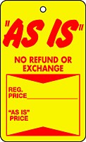"""""""AS IS"""" Tag in Red and Yellow"""