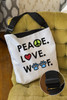 Peace.Love.Woof. Adjustable Tote