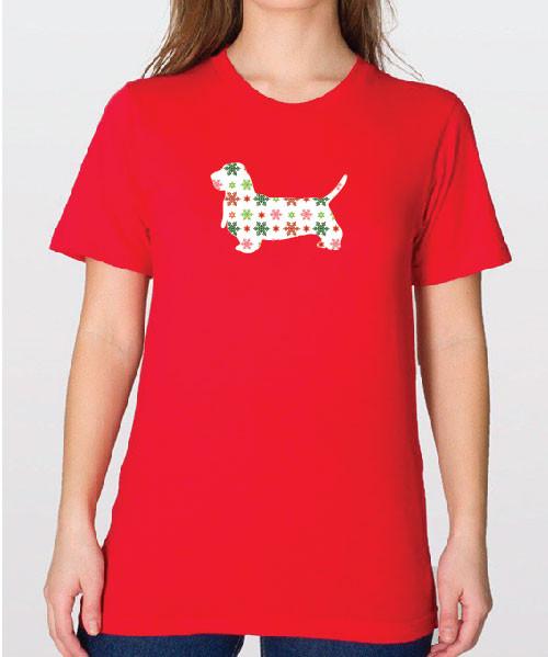 Unisex Holiday Basset Hound T-Shirt