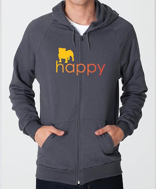 Righteous Hound - Unisex Happy Bulldog Zip Front Hoodie