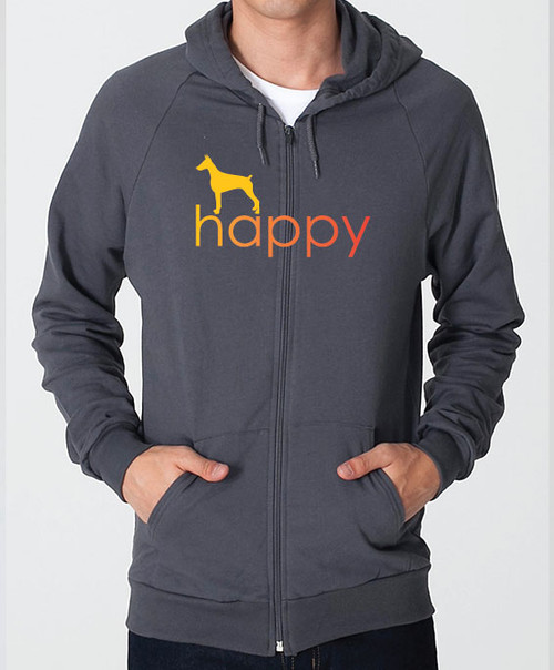 Righteous Hound - Unisex Happy Doberman Zip Front Hoodie