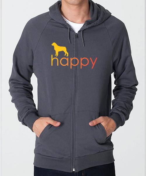 Righteous Hound - Unisex Happy Rottweiler Zip Front Hoodie