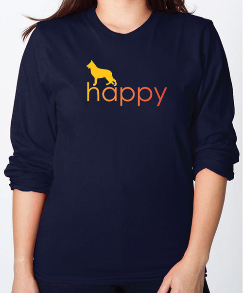 Righteous Hound - Unisex Happy German Shepherd Long Sleeve T-Shirt