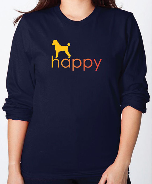 Righteous Hound - Unisex Happy Poodle Long Sleeve T-Shirt