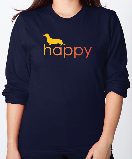 Righteous Hound - Unisex Happy Dachshund Long Sleeve T-Shirt