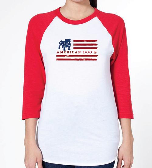 Unisex Flag Bulldog Raglan T-Shirt