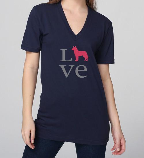 Unisex Love Husky V-Neck Tee
