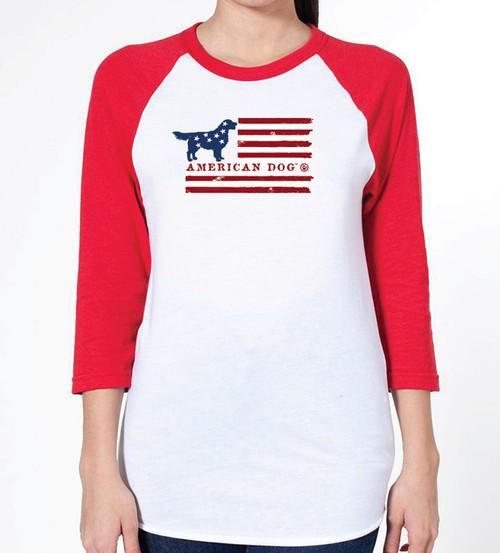Unisex Flag Golden Retriever Raglan T-Shirt
