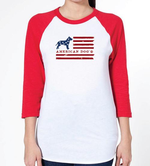 Unisex Flag Pitbull Raglan T-Shirt