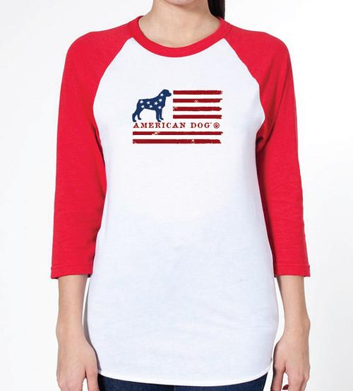 Unisex Flag Rottweiler Raglan T-Shirt