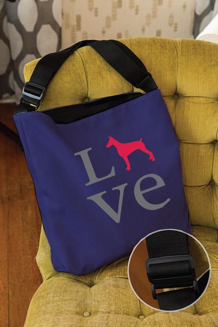 Righteous Hound - Love Doberman Adjustable Tote Bag
